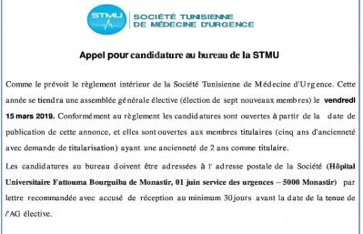 Appel pour candidature au bureau de la STMU